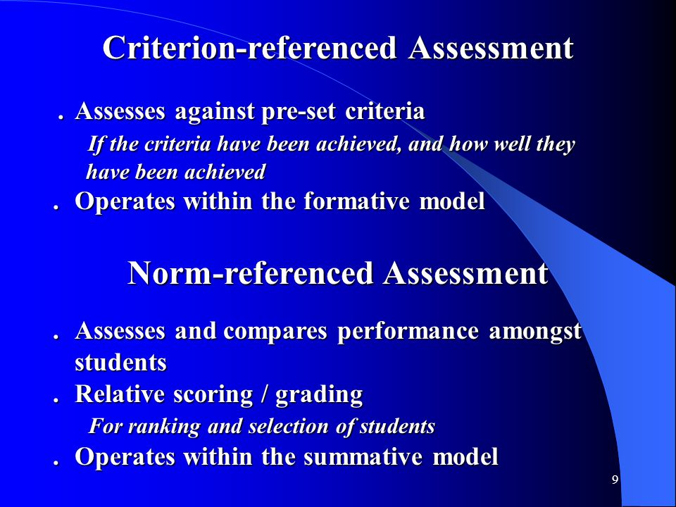 9 Criterion-referenced Assessment.Assesses against pre-set criteria.Assesses against pre-set criteria If the criteria have been achieved, and how well