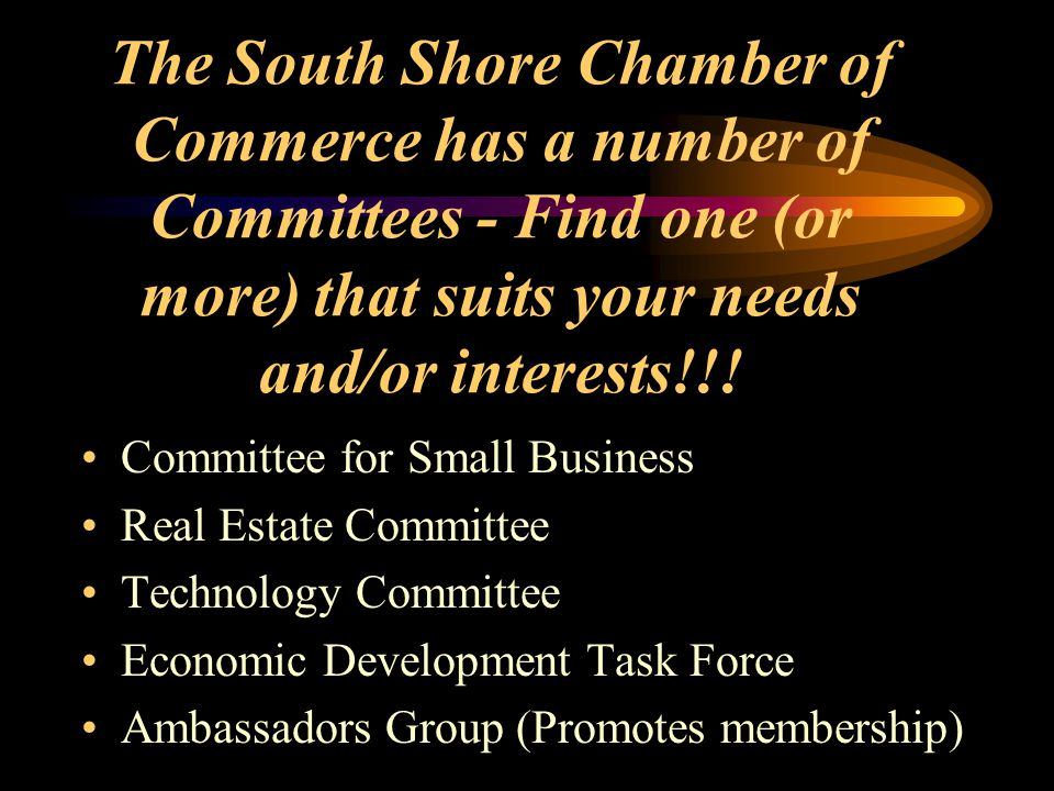 The South Shore Chamber of Commerce has a number of Committees - Find one (or more) that suits your needs and/or interests!!! Committee for Small Busi