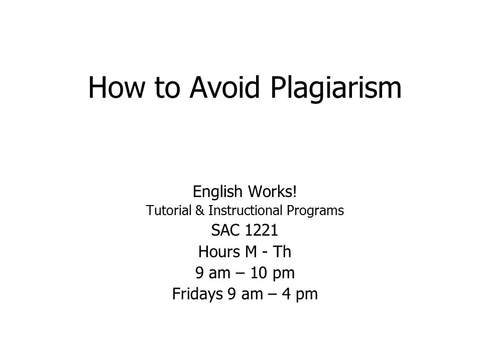 How to Avoid Plagiarism English Works.