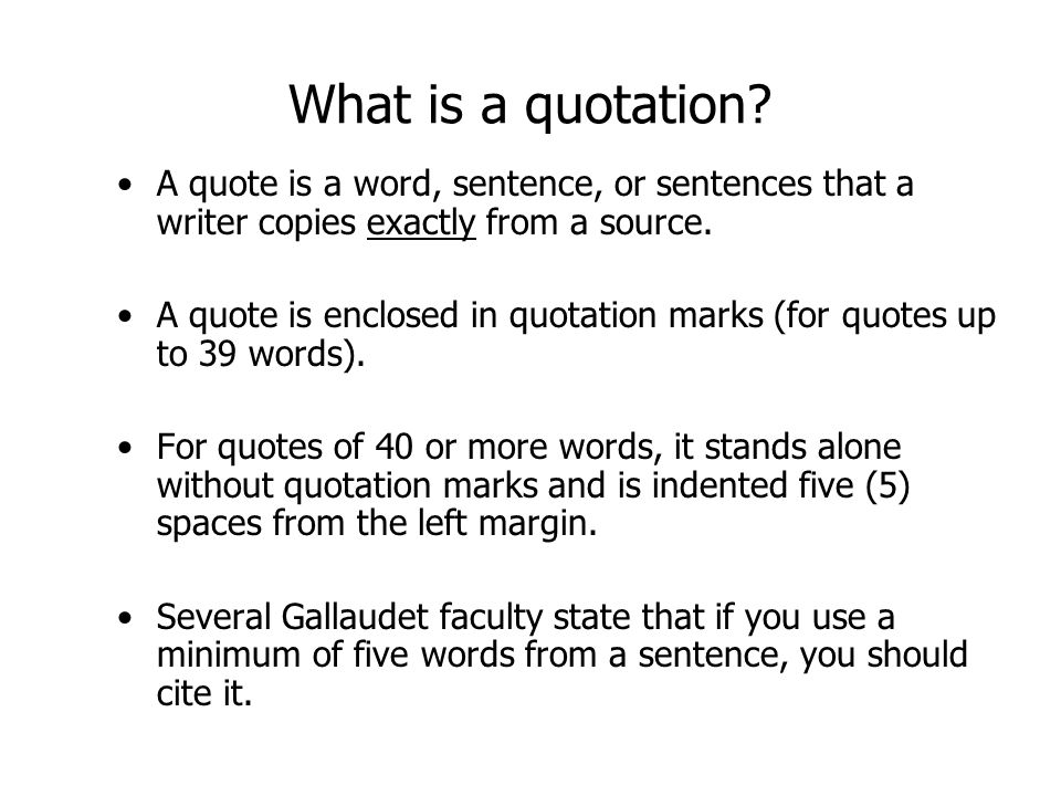 What is a quotation.