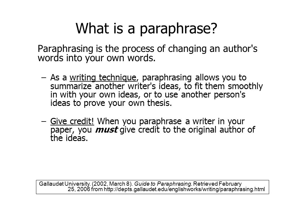 What is a paraphrase.