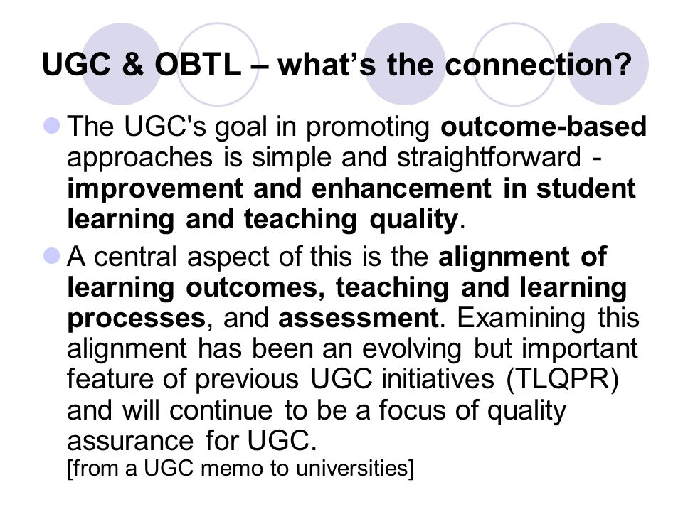 UGC & OBTL – what's the connection.
