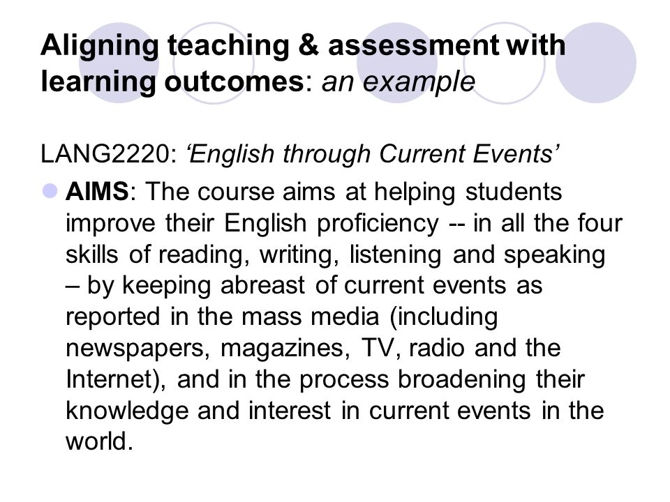 INTENDED LEARNING OUTCOMES At the end of the course, students should be able to: 1.Use English effectively in speaking and writing about current events; 2.Understand spoken and written news reports in English accurately; 3.Analyse and discuss news reports and commentaries critically and in an informed manner;