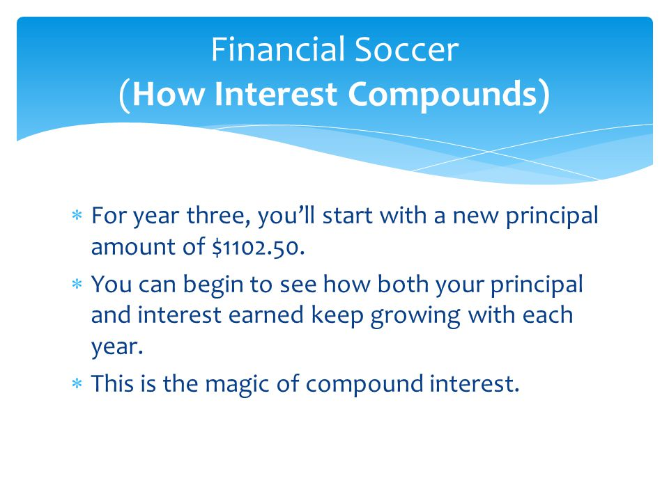  For year three, you'll start with a new principal amount of $1102.50.  You can begin to see how both your principal and interest earned keep growin