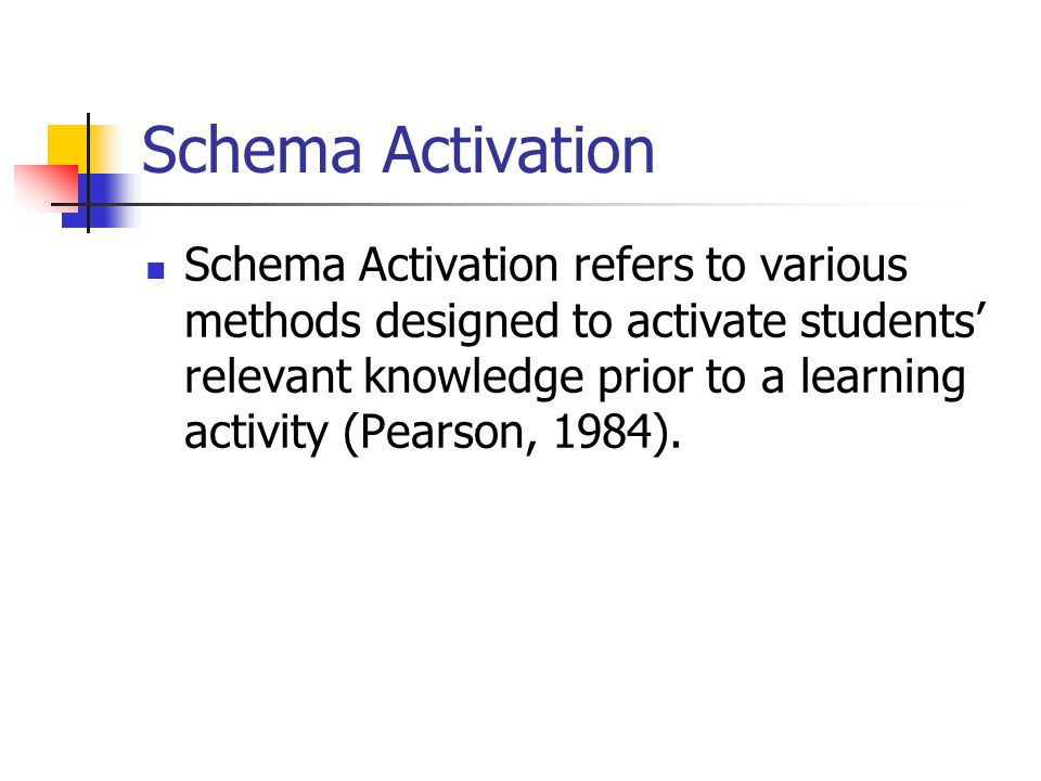 Schema Activation Schema Activation refers to various methods designed to activate students' relevant knowledge prior to a learning activity (Pearson,