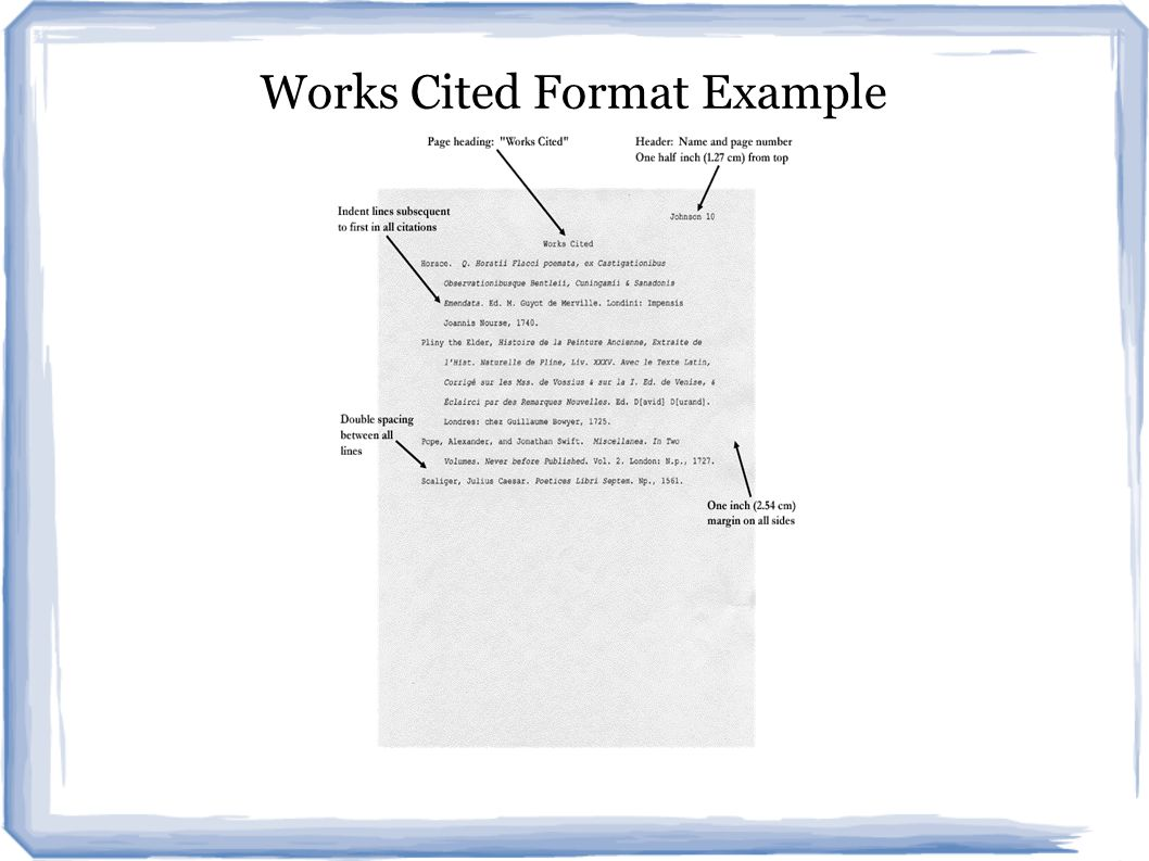 Works Cited Format Example