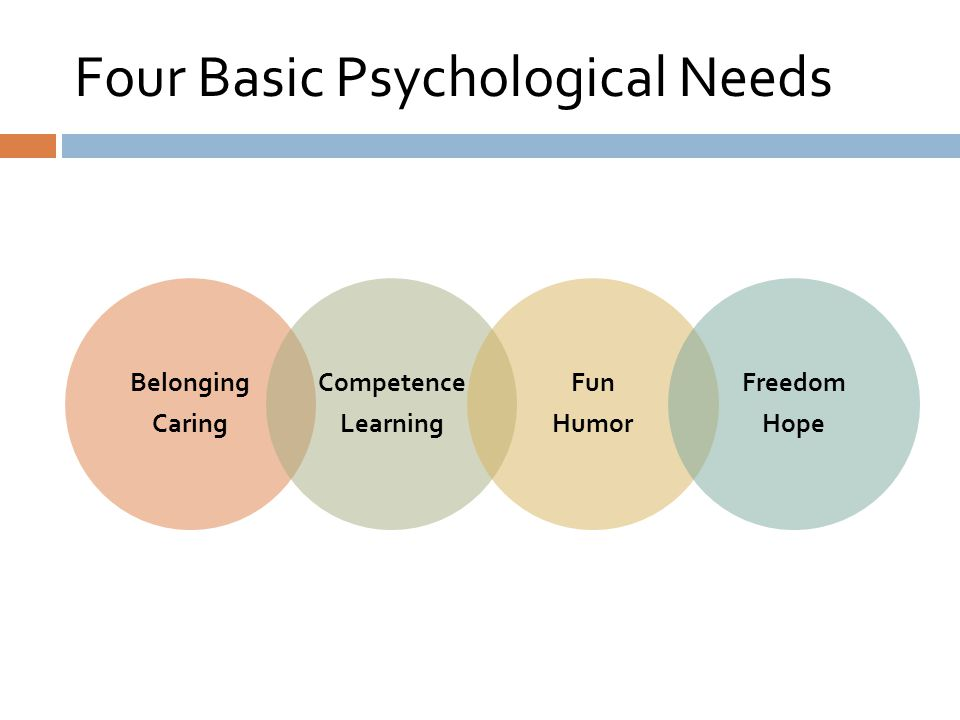 Four Basic Psychological Needs Belonging Caring Competence Learning Fun Humor Freedom Hope