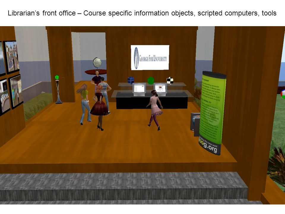 Librarian's front office – Course specific information objects, scripted computers, tools