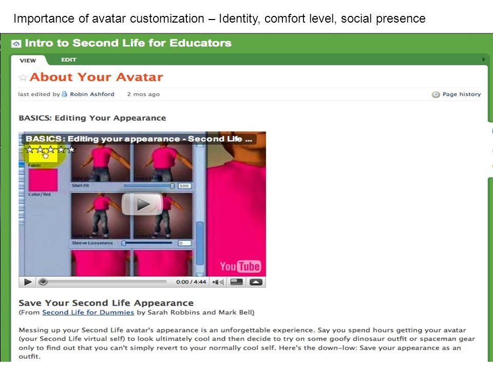 Importance of avatar customization – Identity, comfort level, social presence