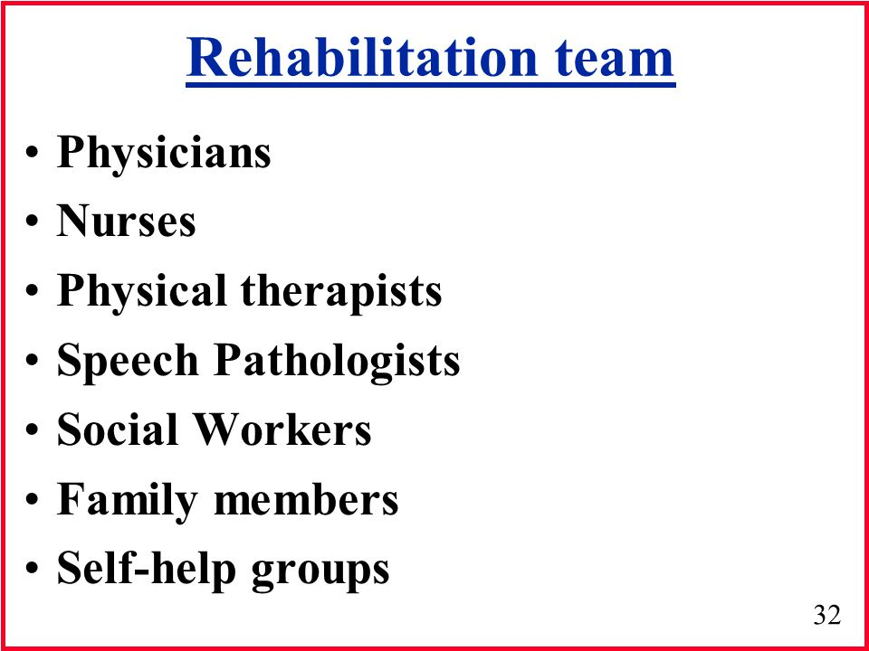 32 Rehabilitation team Physicians Nurses Physical therapists Speech Pathologists Social Workers Family members Self-help groups
