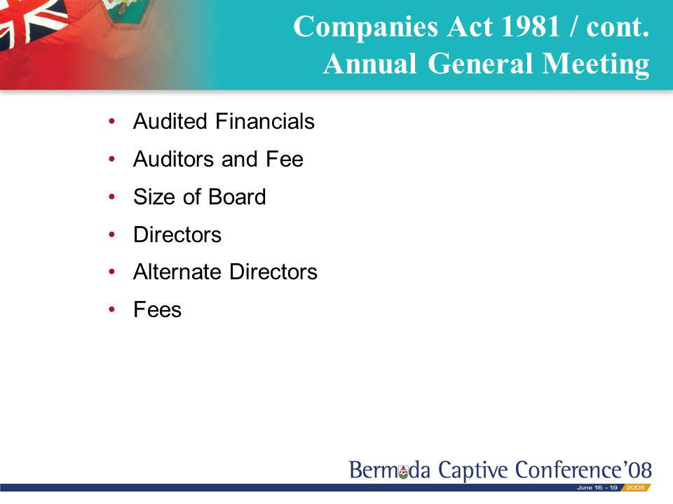 Audited Financials Auditors and Fee Size of Board Directors Alternate Directors Fees Companies Act 1981 / cont. Annual General Meeting