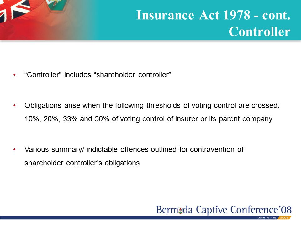 Insurance Act 1978 - cont.