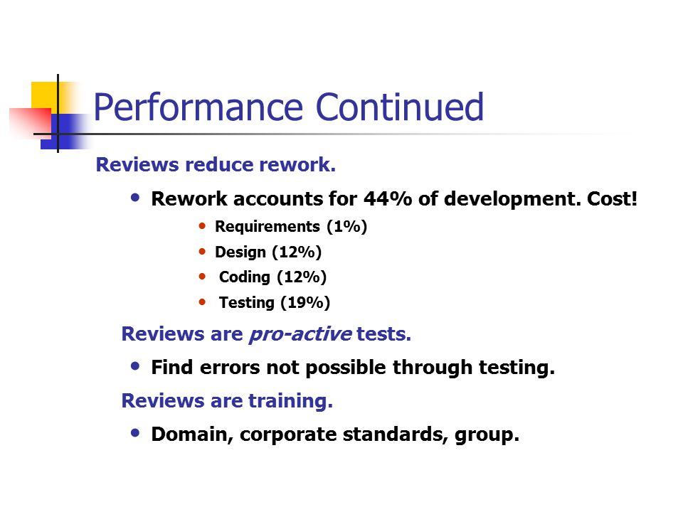 Performance Continued Reviews reduce rework. Rework accounts for 44% of development.