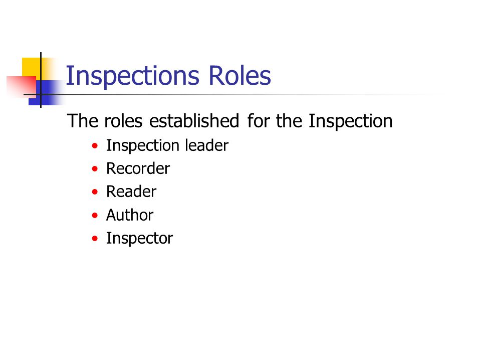Inspections Roles The roles established for the Inspection Inspection leader Recorder Reader Author Inspector