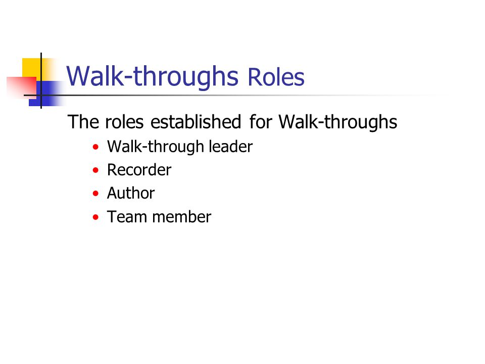 Walk-throughs Roles The roles established for Walk-throughs Walk-through leader Recorder Author Team member