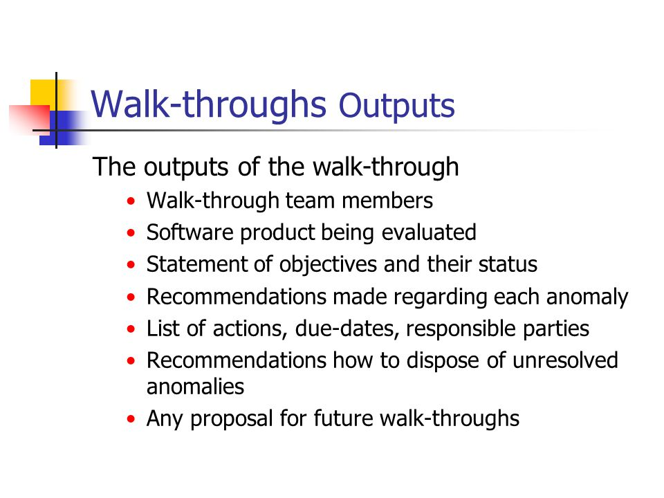 Walk-throughs Outputs The outputs of the walk-through Walk-through team members Software product being evaluated Statement of objectives and their sta