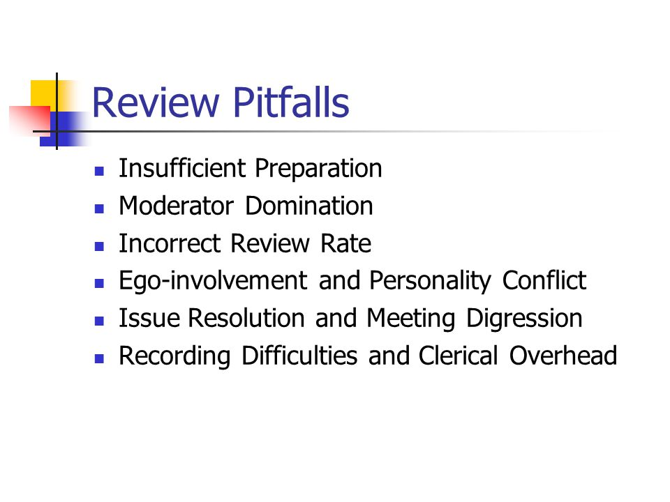 Review Pitfalls Insufficient Preparation Moderator Domination Incorrect Review Rate Ego-involvement and Personality Conflict Issue Resolution and Meet
