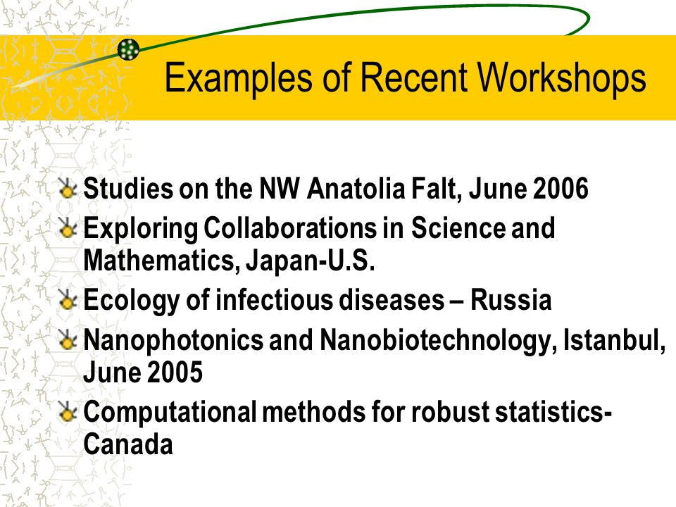 Examples of Recent Workshops Studies on the NW Anatolia Falt, June 2006 Exploring Collaborations in Science and Mathematics, Japan-U.S. Ecology of inf
