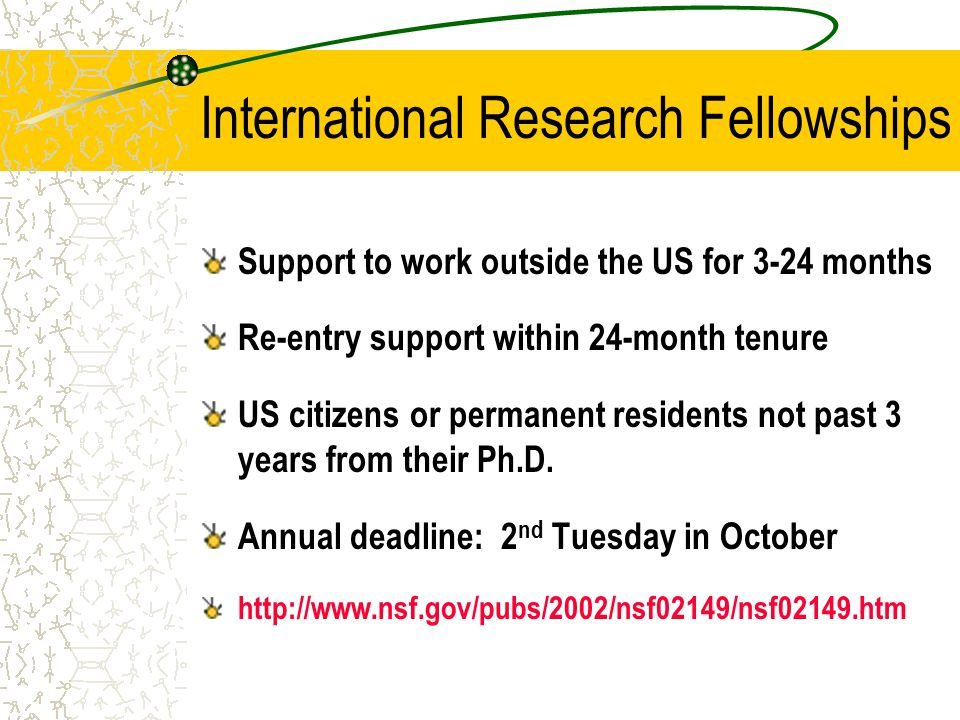 International Research Fellowships Support to work outside the US for 3-24 months Re-entry support within 24-month tenure US citizens or permanent residents not past 3 years from their Ph.D.
