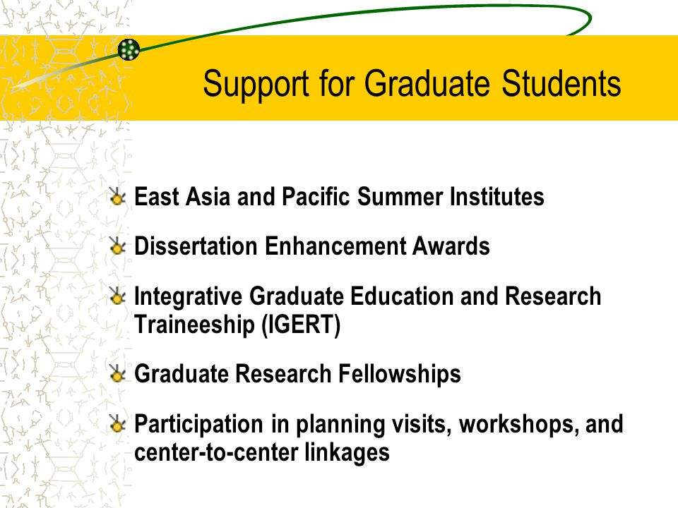 Support for Graduate Students East Asia and Pacific Summer Institutes Dissertation Enhancement Awards Integrative Graduate Education and Research Trai