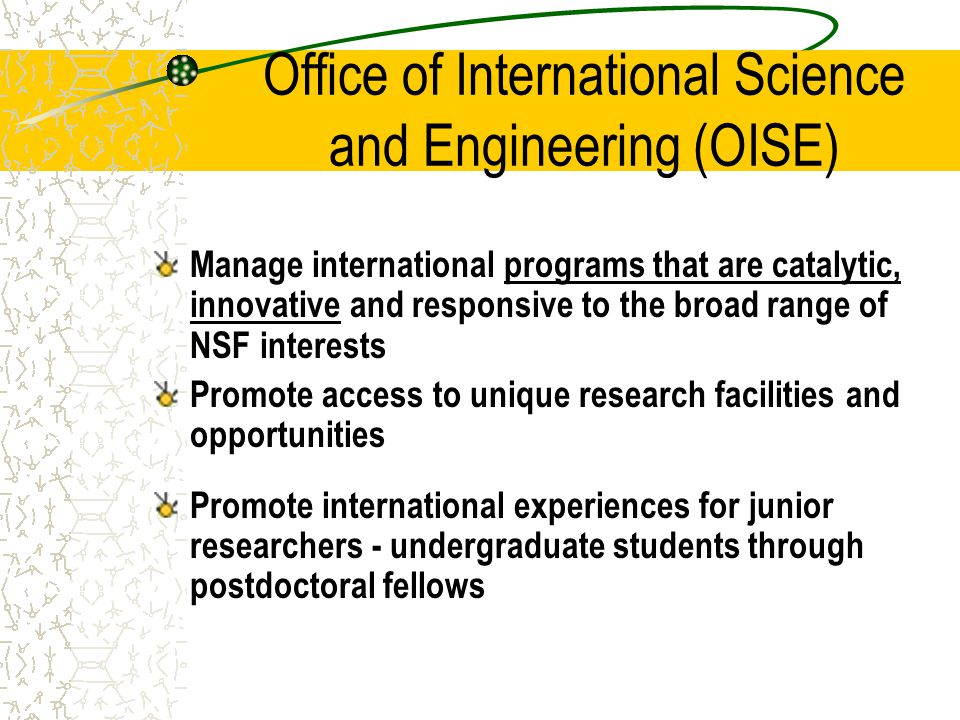 Office of International Science and Engineering (OISE) Manage international programs that are catalytic, innovative and responsive to the broad range