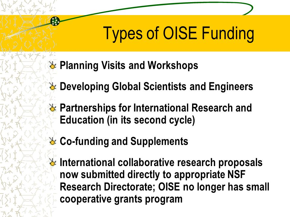 Types of OISE Funding Planning Visits and Workshops Developing Global Scientists and Engineers Partnerships for International Research and Education (