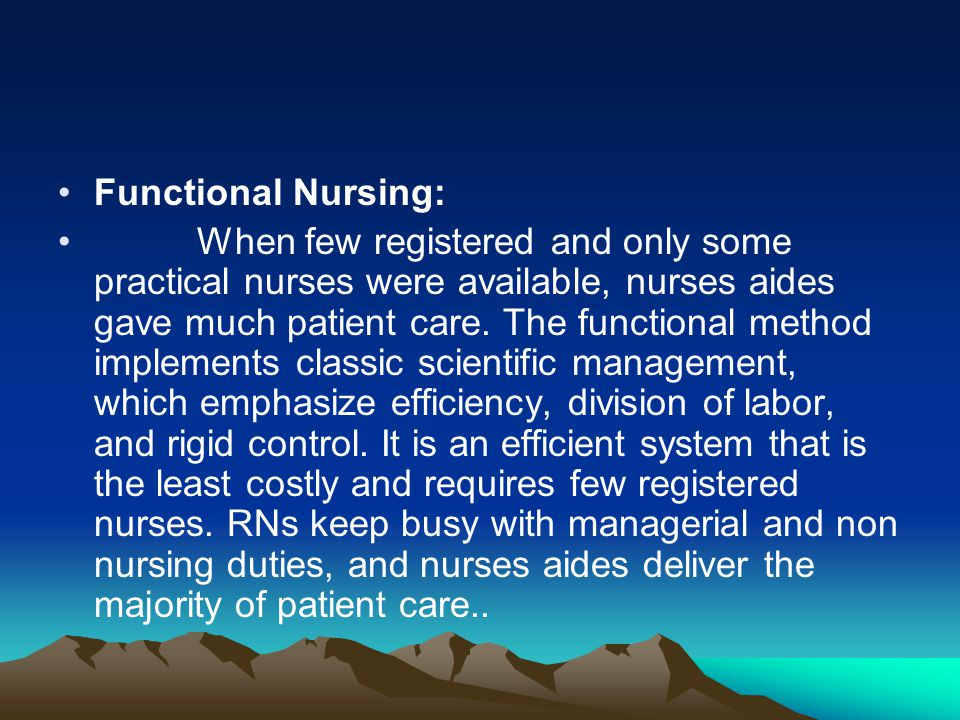 Functional Nursing: When few registered and only some practical nurses were available, nurses aides gave much patient care. The functional method impl
