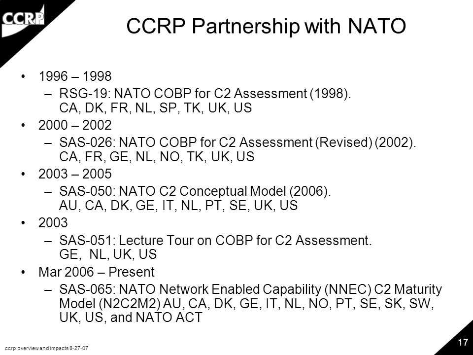 ccrp overview and impacts 8-27-07 17 CCRP Partnership with NATO 1996 – 1998 –RSG-19: NATO COBP for C2 Assessment (1998). CA, DK, FR, NL, SP, TK, UK, U
