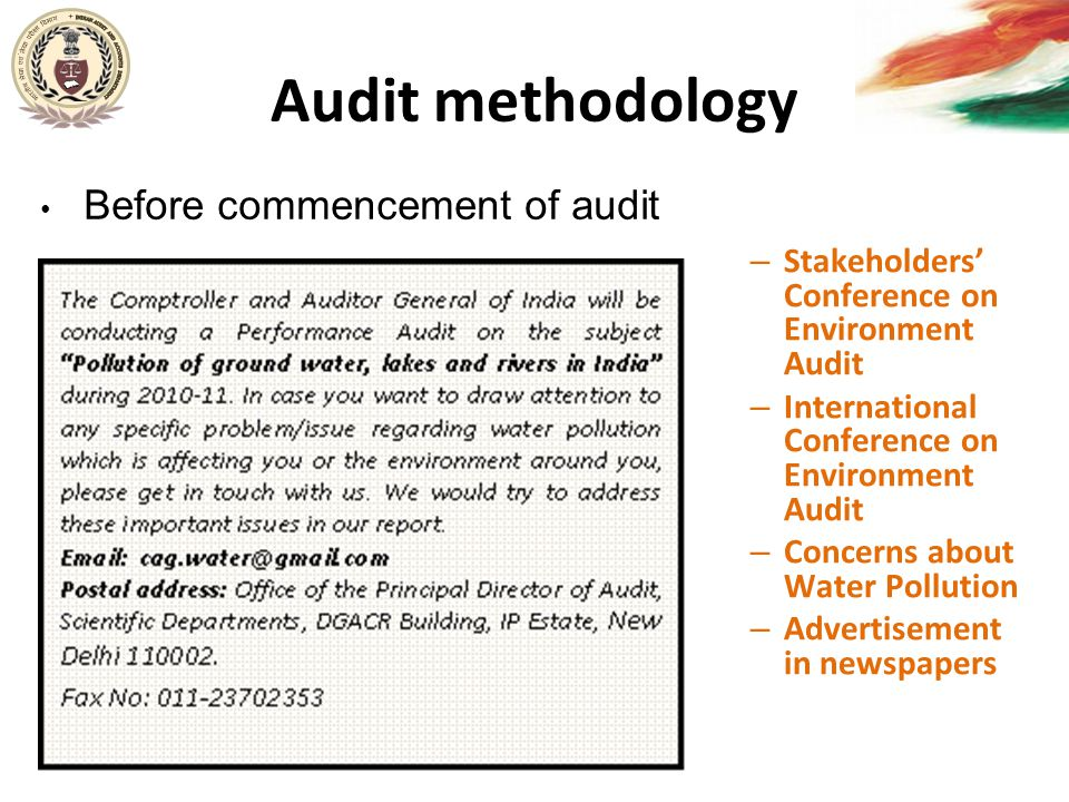 Audit methodology – Stakeholders' Conference on Environment Audit – International Conference on Environment Audit – Concerns about Water Pollution – A