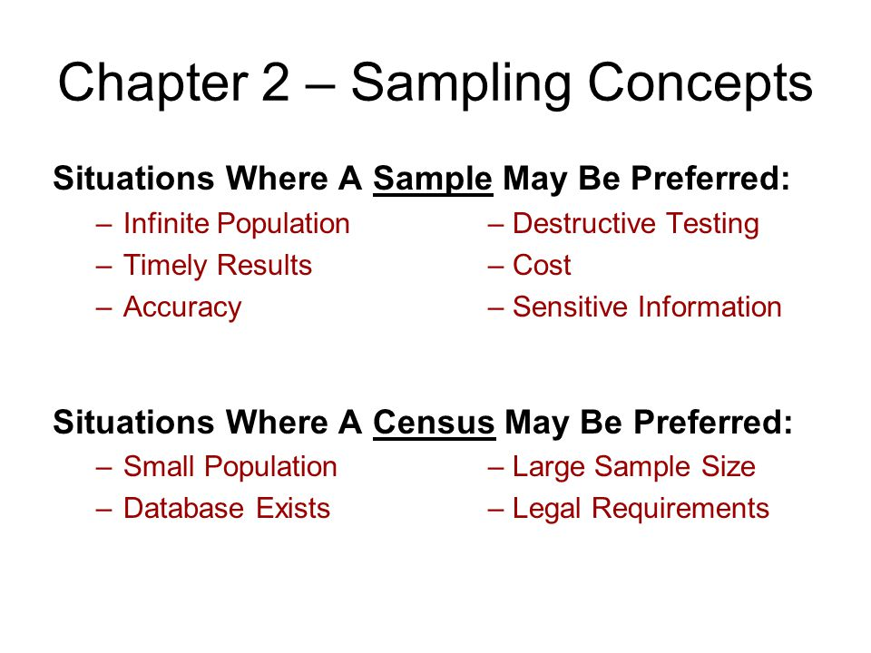 Chapter 2 – Sampling Concepts Situations Where A Sample May Be Preferred: –Infinite Population– Destructive Testing –Timely Results– Cost –Accuracy– S