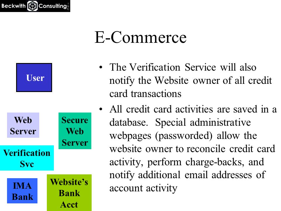 E-Commerce The Verification Service will also notify the Website owner of all credit card transactions All credit card activities are saved in a database.