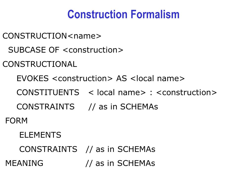 Construction Formalism CONSTRUCTION SUBCASE OF CONSTRUCTIONAL EVOKES AS CONSTITUENTS : CONSTRAINTS // as in SCHEMAs FORM ELEMENTS CONSTRAINTS // as in SCHEMAs MEANING // as in SCHEMAs