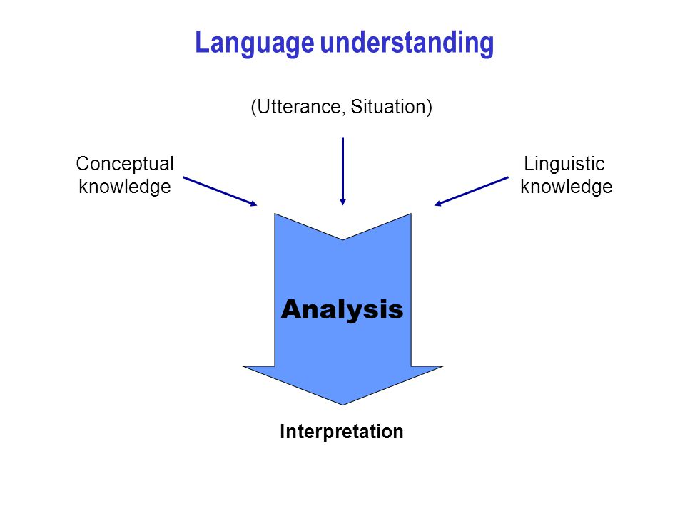 Language understanding Interpretation (Utterance, Situation) Linguistic knowledge Conceptual knowledge Analysis