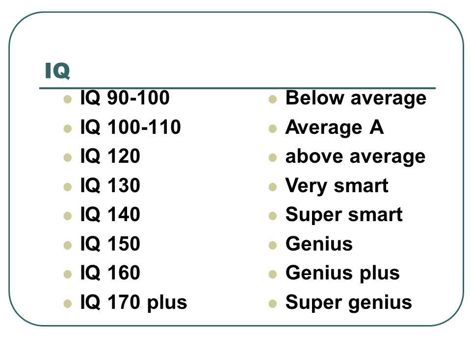 IQ IQ 90-100 IQ 100-110 IQ 120 IQ 130 IQ 140 IQ 150 IQ 160 IQ 170 plus Below average Average A above average Very smart Super smart Genius Genius plus Super genius