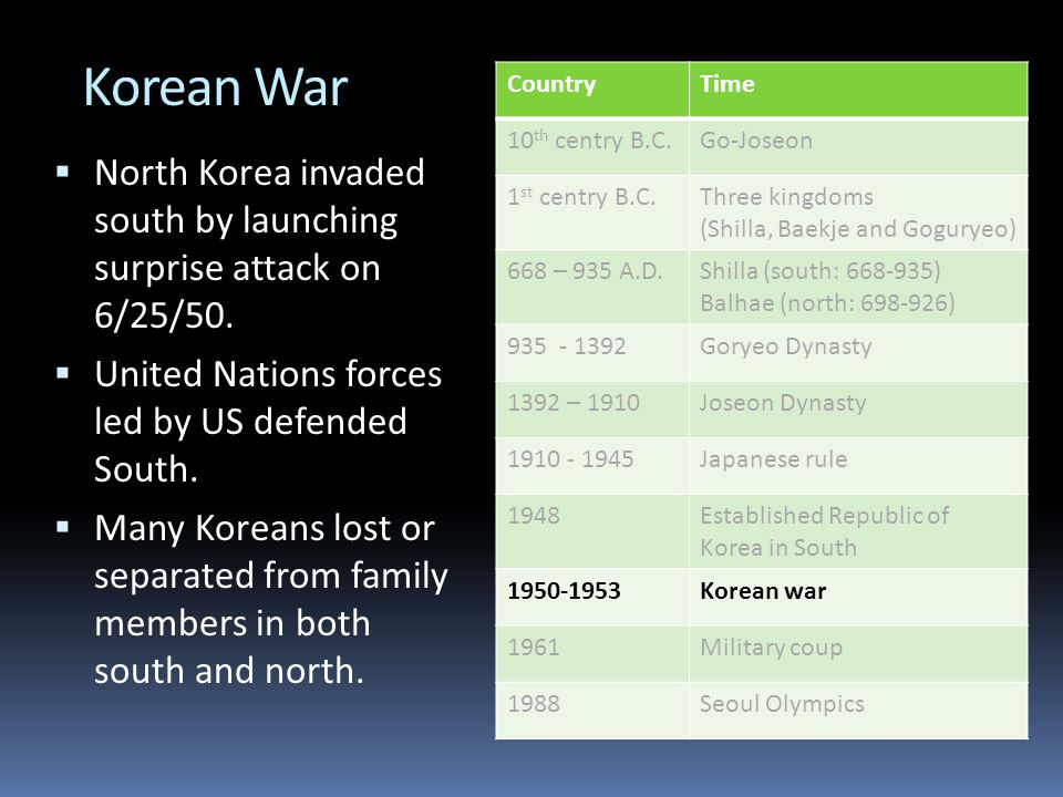 Korean War  North Korea invaded south by launching surprise attack on 6/25/50.