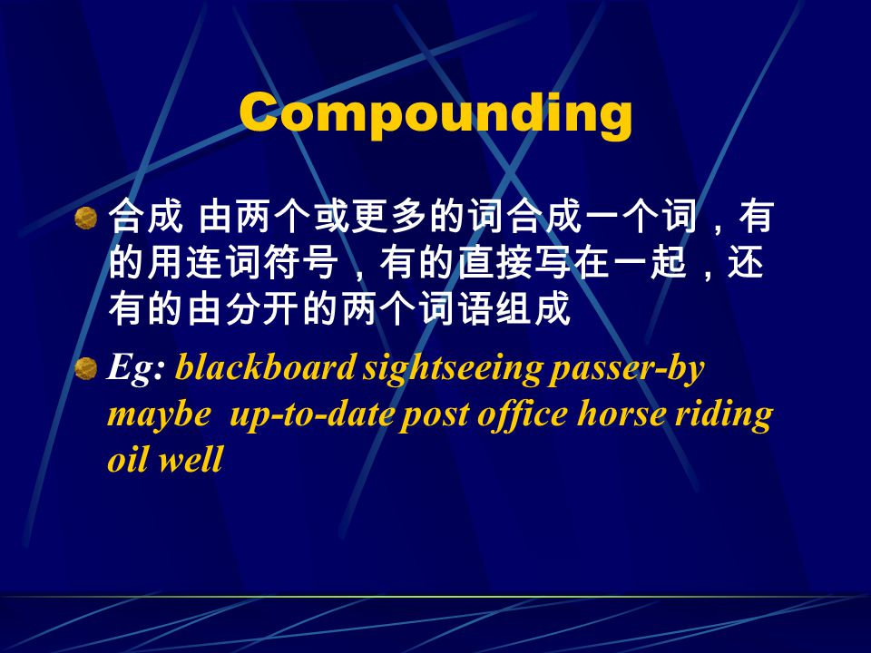 Compounding 合成 由两个或更多的词合成一个词,有 的用连词符号,有的直接写在一起,还 有的由分开的两个词语组成 Eg: blackboard sightseeing passer-by maybe up-to-date post office horse riding oil well