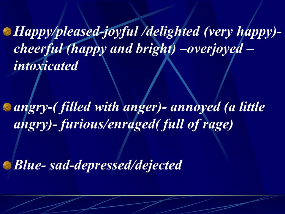 Happy/pleased-joyful /delighted (very happy)- cheerful (happy and bright) –overjoyed – intoxicated angry-( filled with anger)- annoyed (a little angry)- furious/enraged( full of rage) Blue- sad-depressed/dejected