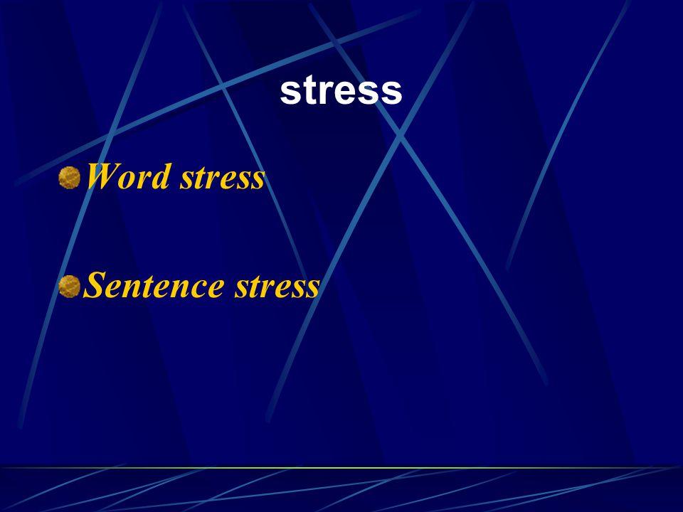 stress Word stress Sentence stress