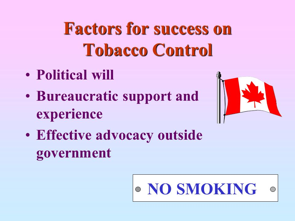 Factors for success on Tobacco Control Political will Bureaucratic support and experience Effective advocacy outside government NO SMOKING