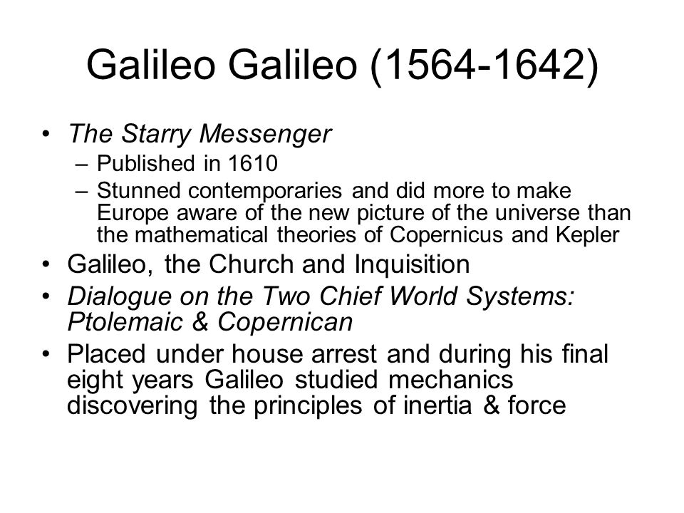 Galileo Galilei (1564-1642) First European to make systematic observations of the heavens using a telescope. Established that the planets were made of