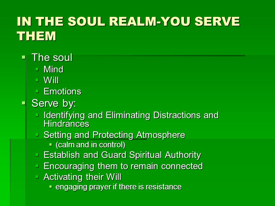 IN THE SOUL REALM-YOU SERVE THEM  The soul  Mind  Will  Emotions  Serve by:  Identifying and Eliminating Distractions and Hindrances  Setting and Protecting Atmosphere  (calm and in control)  Establish and Guard Spiritual Authority  Encouraging them to remain connected  Activating their Will  engaging prayer if there is resistance