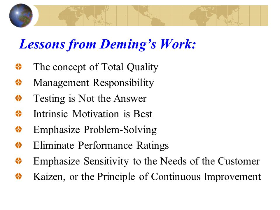 Transforming Change Deming's Total Quality Management (TQM) deals with the organizations culture.