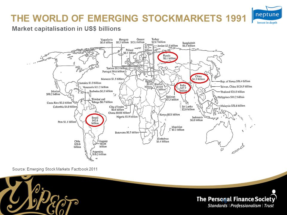 THE WORLD OF EMERGING STOCKMARKETS 1991 Source: Emerging Stock Markets Factbook 2011 Market capitalisation in US$ billions 16