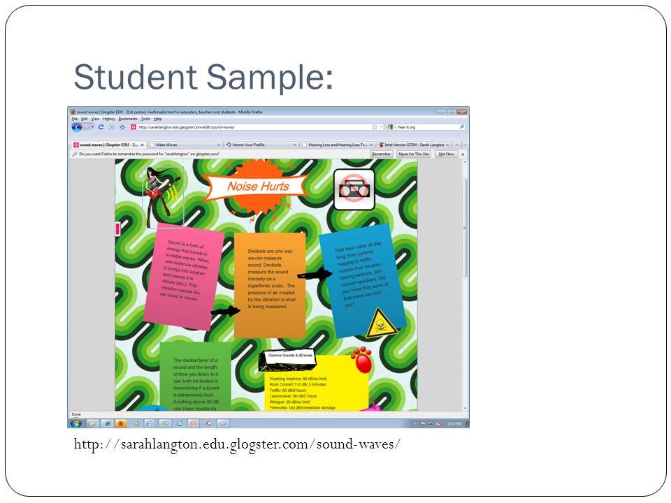 Student Sample: http://sarahlangton.edu.glogster.com/sound-waves/