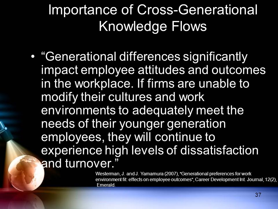 "Importance of Cross-Generational Knowledge Flows ""Generational differences significantly impact employee attitudes and outcomes in the workplace. If f"