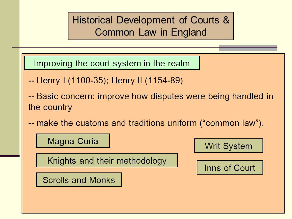 Courts as administrators -- courts tended to be creatures of the sovereign -- Consider the phrase, The King's Court (King's courtyard) The Sovereign courts Various names: Magistrates Chambers Councils procurator Privileged participants: Clergy Aristocrats Historical Development of Courts & Common Law in England