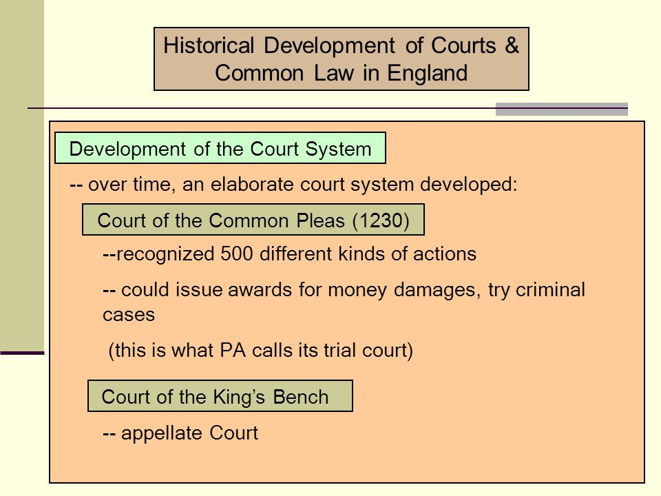 -- Henry I (1100-35); Henry II (1154-89) -- Basic concern: improve how disputes were being handled in the country -- make the customs and traditions uniform ( common law ).