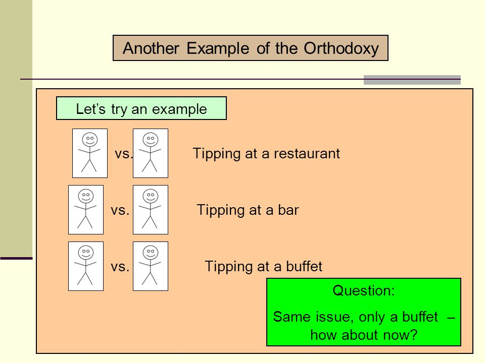 Let's try an example vs.Tipping at a restaurant vs.Tipping at a bar Question: Same issue, only a bar – how would you resolve this one.