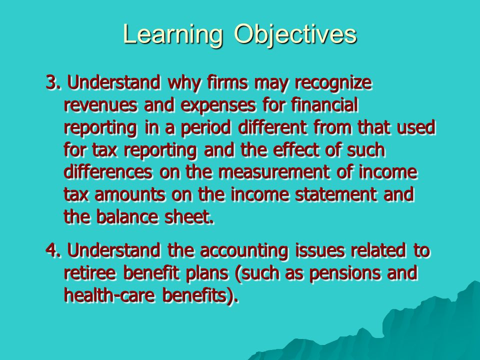3. Understand why firms may recognize revenues and expenses for financial reporting in a period different from that used for tax reporting and the eff