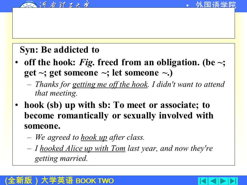 ( 全新版)大学英语 BOOK TWO 外国语学院 Language Points: 1. be/get hooked on (L.